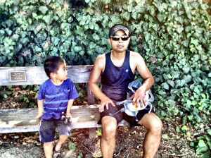 Makoa deciding if he wants to run an ultra some day and smell as bad as dad.